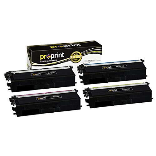 ProPrint 4-Pack Compatible Brother TN433 (TN433BK TN433C TN433M TN433Y) Color High Yield Toner Cartridge Set by ProPrint