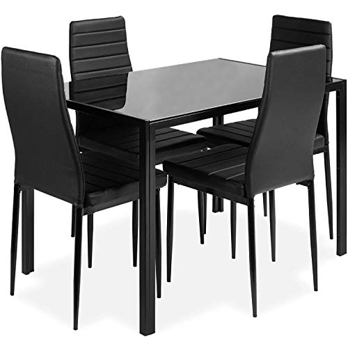 DKLGG 5-Piece Kitchen Table Set for Dining Room, 4 Faux Leather Metal Frame Chairs, Dinette, Compact Space w/Glass…