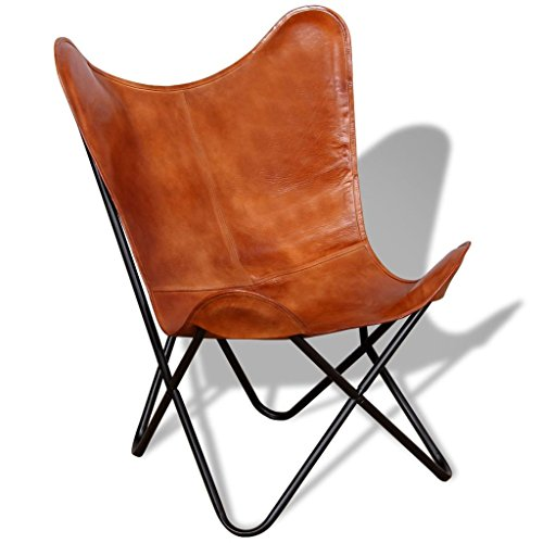 Tidyard Butterfly Chair Real Leather Arm Chair Handmade with Solid Metal Frame | Indoor Furniture Office Brown 29.1