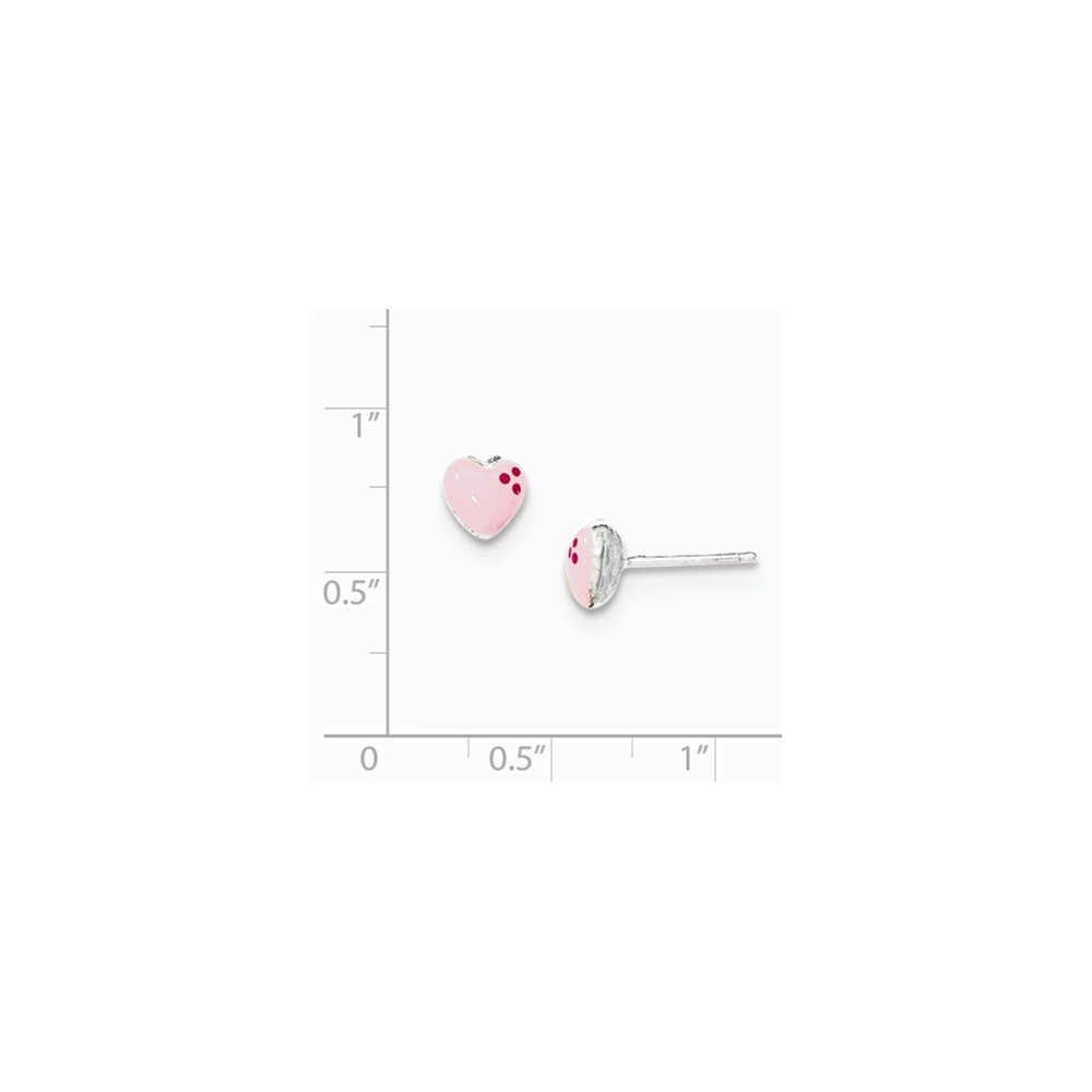 Sterling Silver Polished /& Enameled Heart Post Earrings