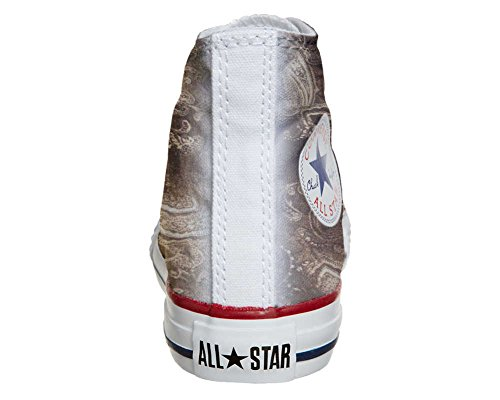 Converse Customized Adulte - chaussures coutume (produit artisanal) Gold Paisley