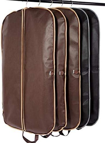 洋服用ダストバッグ ポータブルハンドルゴールドキット折りたたみ通気性衣料品店のスーツのジッパー袋を旅行 クローゼット服ダストバッグ (色 : Black+brown)