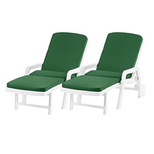 Wasserfest Ersatz Sitzkissen für Resol Palamos Außen Sonnenstuhl, Erhältlich in 11 Farben - Grün, 2 Pack