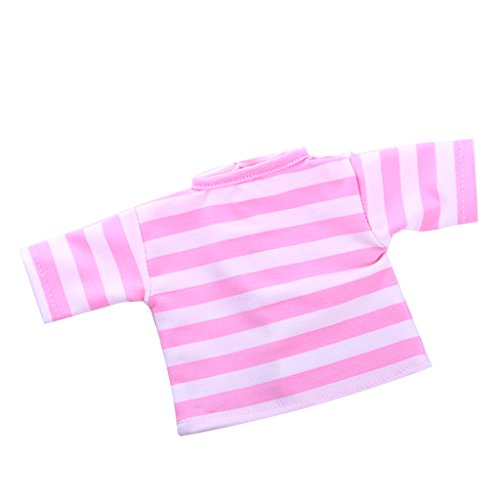 - MonkeyJack Fashion Dolls Accessories Striped T-Shirt Tops for 18'' Doll Clothes Clothing Kids Pretend Play Toy Pink