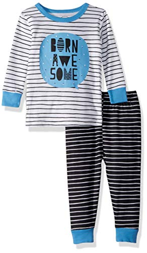 Lamaze Organic Baby Boys Organic 2 Piece Longsleeve Tight Fit Pajamas Set, White Stripe 12M