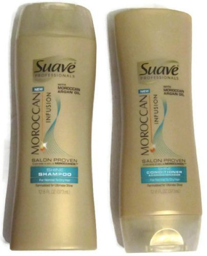 Suave Professionals Moroccan Infusion SHINE 12.6oz (373ml) - 2 Bottle Set: Shampoo and Conditioner