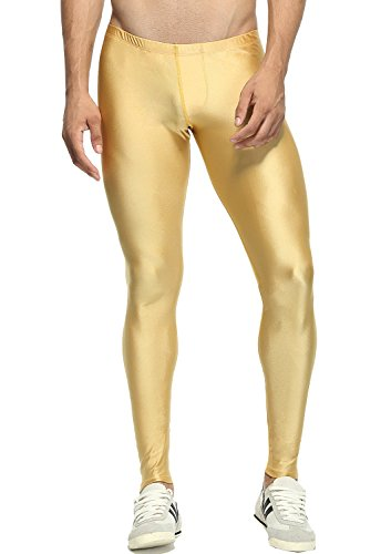 - Minaso Sports Tight Leggings for Gym Workout Running Tights (Gold, XL Fit Waist Size 33.8-36.6