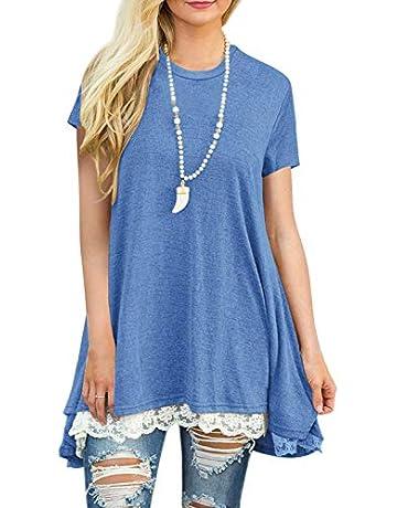 31b326a2 Women's Lace Tunic Top Sweatshirt Long Sleeve Blouse A-Line Flowy T-Shirt  Dress