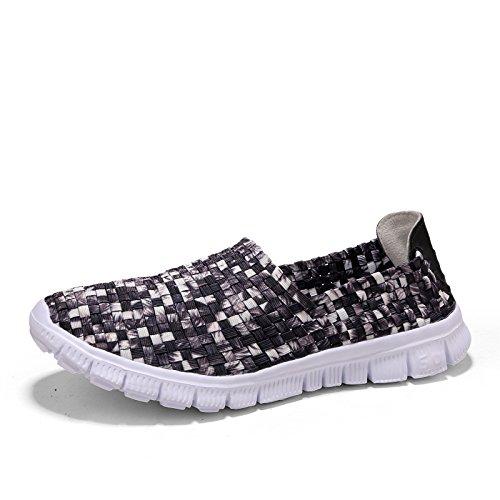 Hasag Zapatos de Tejido de Verano Las Mujeres Zapatos Casuales pies Perezosos pies Zapatos de Lona Transpirables Zapatos Deportivos Black and white fan