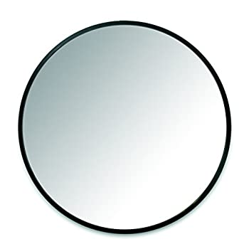 Umbra Hub Wall Mirror With Rubber Frame - 24-Inch Round Wall Mirror for Entryways, Washrooms, Living Rooms and More, Doubles as Modern Wall Art, Black