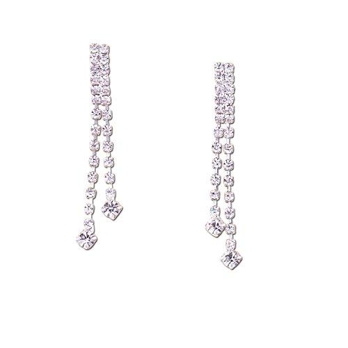 (Topwholesalejewel Bridal Earrings Silver Crystal Two Strand Dangle Earring For Women)