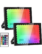Led-spot voor buiten, RGB, 50 W, met afstandsbediening, led-schijnwerper voor buiten, wit licht, waterdicht IP67 voor tuin, binnenplaats, garage, [energie-efficiëntieklasse A++] (2 stuks)