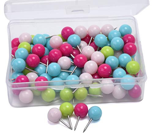 JoyFamily 3/8 Inch Map Push Pins, Plastic Round Head with Stainless Point, Thumb Tacks Used on Cork Boards, 100 Pieces (Assorted Color)