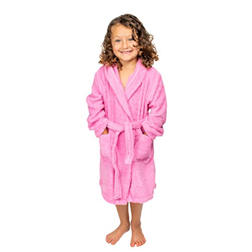 Bagno Milano Kids - Unisex Hooded Bathrobe - 100% Organic Turkish Cotton - Boys - Girls Robe, Made in Turkey (Medium/Age 6-8, Pink)