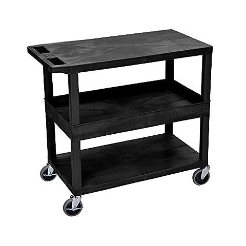 LUXOR EC212-B Cart, 2 Flat/1 Tub Shelves, 18
