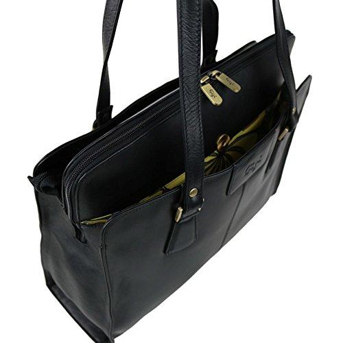 Presina da lavoro, da donna, in pelle, colore: nero, Borsa a spalla borsetta by GiGi 70 s Classic