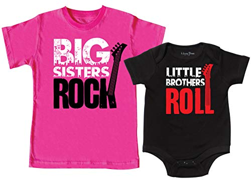 Big Sisters Rock Shirt, Little Brother Roll Shirt, Includes Size 3 & 0-3 - Girls Rock Toddler Shirt