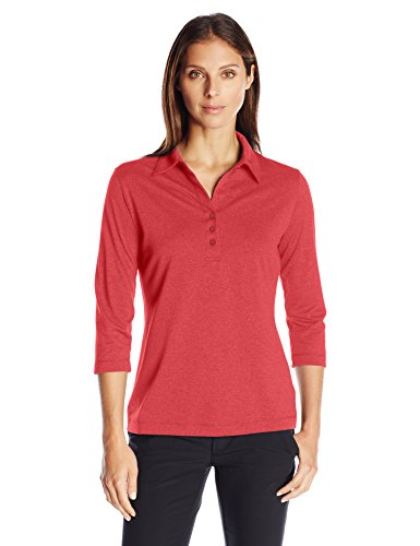 Cutter & Buck Women's CB Drytec 3/4 Sleeve Chelan Polo, Cardinal Red Heather, Large