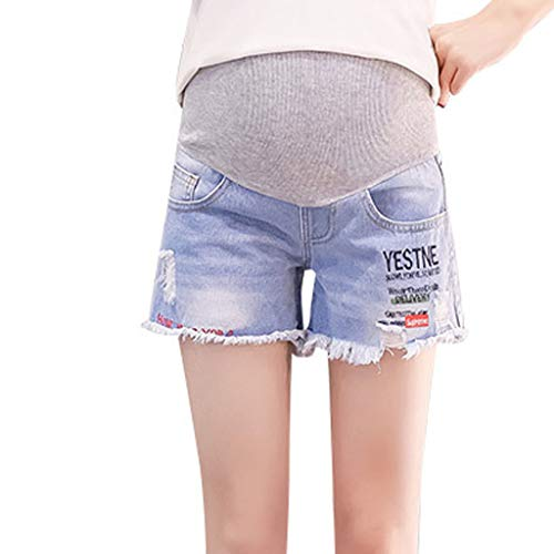 RIUDA Maternity Denim Shorts Cotton Lounge Over Bump Pregnancy Shorts Summer Pants Printing Trousers