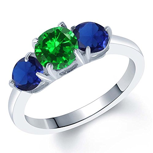 Gem Stone King 2.70 Ct Green Simulated Emerald Blue Simulated Sapphire Silver Ring (Size 6)