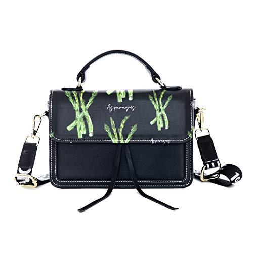Fashion Unique Handbag Wenzhu Green Plant Hand-painted Print Shoulder Bag Top Handle Tote Flap Over Satchel Purses Crossbody Bags Messenger Bags For Women -