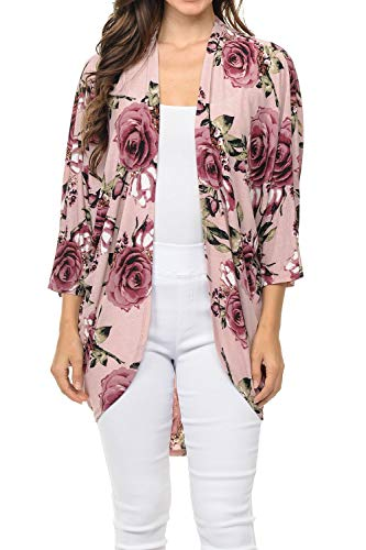 Rose Caftan - Auliné Collection Womens USA Made Casual Cover Up Cape Gown Robe Cardigan Kimono SFBW1 Rose Bloom FL Rose L