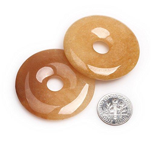 Semi Precious Donut - Joe Foreman Yellow Tiger Eye Beads for Jewelry Making Natural Gemstone Semi Precious 40mm Donut 2Pcs