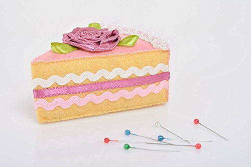 - Handmade Designer Felt Pincushion In The Shape Of Cake With Cherry For Sewing