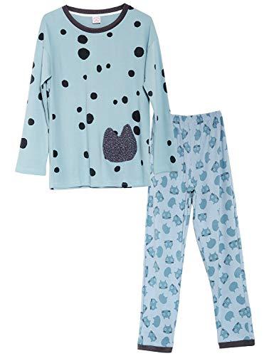 Jashe Teen Girls 100% Cotton Cat & Polka-Dotted Sleepwear Fall/Winter PJS Big Kids Size 18