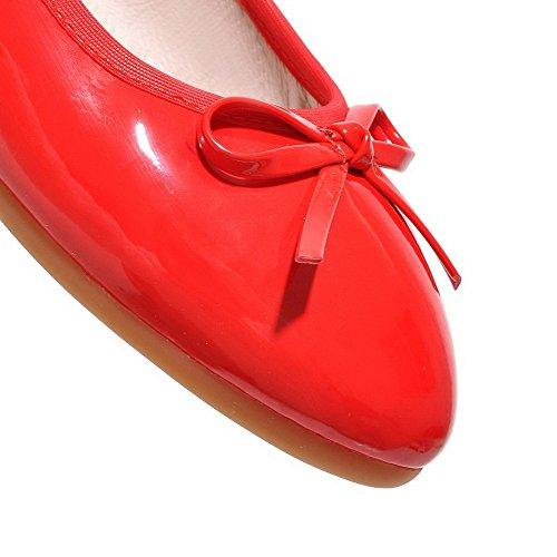 VogueZone009 Damen Rund Zehe Ziehen auf PU Leder Rein Niedriger Absatz Pumps Schuhe Rot