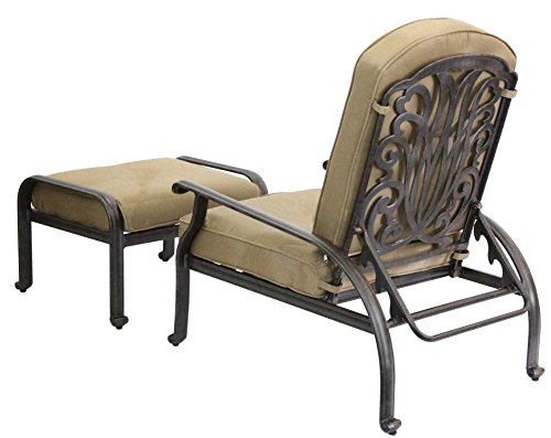 Darlee Elisabeth Cast Aluminum Adjustable Club Chair and Ottoman with Cushions, Antique (Cast Aluminum Club Chair)