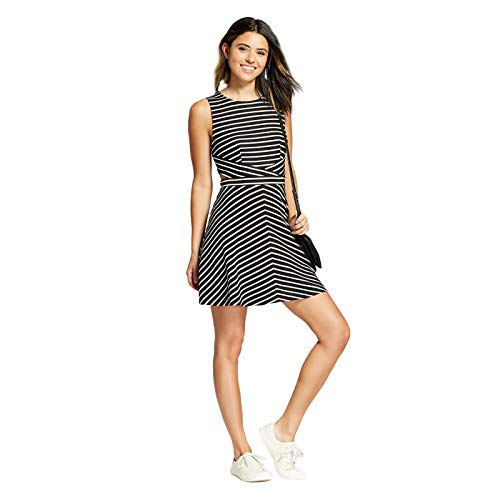 (Xhilaration Women's Striped Sleeveless Cut Out Dress - Variety - (Black, XLarge))