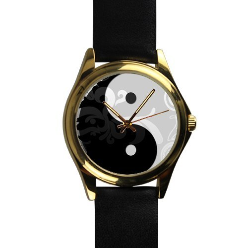 ite YinYang with Art Pattern Unisex -tone Round Leather Metal Watch ()