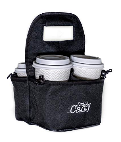 Portable Drink Carrier and Reusable Coffee Cup Holder by Drink Caddy - 4 Cup Collapsible Tote Bag with Organizer Pockets Safely Secures Hot and Cold Beverages - Perfect for Food Delivery and Take Out (Best Portable Coffee Cup)