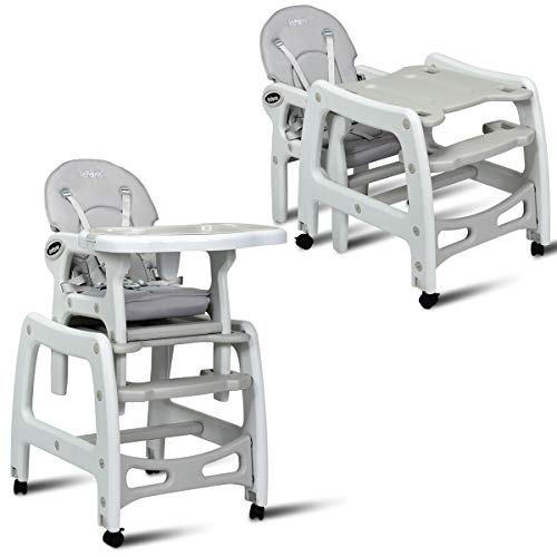 INFANS 3 in 1 Baby High Chair, Convertible Toddler Table Chair Set, Rocking Chair, Multi-Function Seat with Lockable Universal Wheels, Adjustable Seat Back, Removable Trays, 6 Months & up, Grey (1 In 3 Dining Table)
