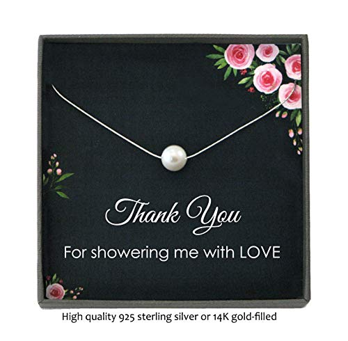 Baby Shower Hostess - Bridal or Baby Shower Hostess Gift Necklace with Meaningful Message, Floating Pearl