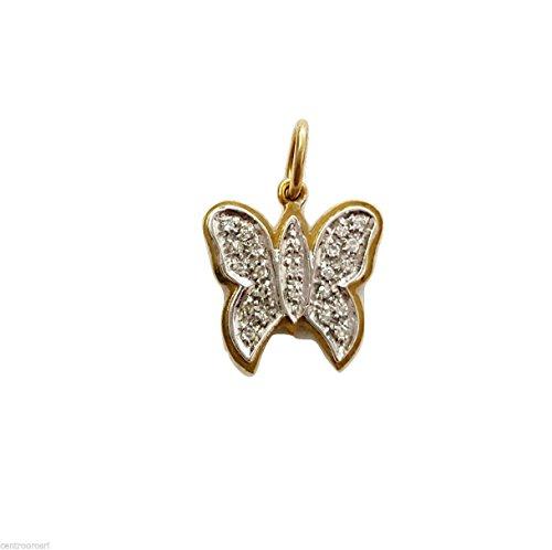 Pendentif Charm Papillon en or 18carats et zirconium blancs Gr.2.20-18K Gold Pendant