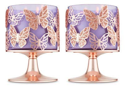 (Bath and Body Works 2 Pack Rose Gold Glitter Butterflies 3 Wick Candle Holder.)