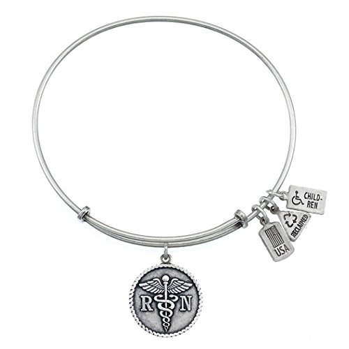 Wind and Fire RN/Caduceus Charm Bangle Silvertone Finish