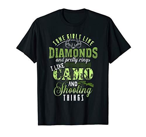 Womens I like Camo and shooting things Rifle Deer Hunting T-Shirt