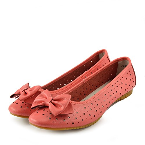 Kick Footwear Ladies Leather Comfortable Walking Ballerina Shoes Coral gJXm3EoUvG