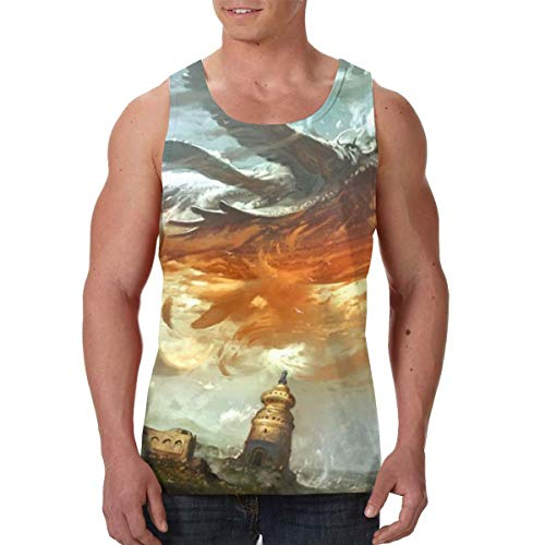Sky Whale Fantasy Historic Building Men's Premium Funny Print Tank Tops Casual Sleeveless Beach Tees Vest Sauna Vest Black ()