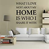 Viersy Wall Decal Sticker Mural Vinyl Arts and Sayings Mural Art What I Love Most About My Home is Who I Share It with for Living Room