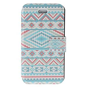 SHOUJIKE Fragrant Smell Blue Tones Ethnic Pattern Full Body Case with Matte Back Cover and Stand for iPhone 4/4S