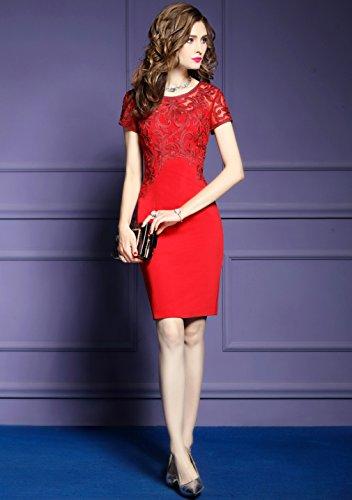 Rosso Slim Corta Delle `s Manica Abito Formale Vestito Elegante Fit Donne Cotyledon CBxFwWAqpA