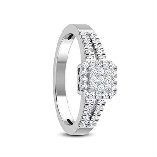 18K Or Blanc, 0.25carat Diamant Taille ronde (IJ | SI) en diamant