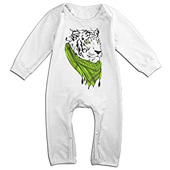 Raymond Keffiyeh Tiger Long Sleeve Jumpsuit Outfits White 24 Months