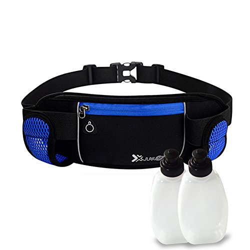 Nylon Waterproof Running Belt with Water Bottle Holder and 2 Water Bottles,...