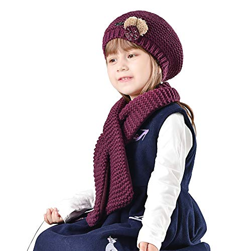 (Girls Winter Hat Scarf Kids Toddler Artist French Beret Knitted Beanie Christmas (Aged 2-8))