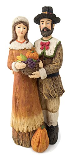 Carved Wood Look Pilgrim Couple Figures Figurines 11.8